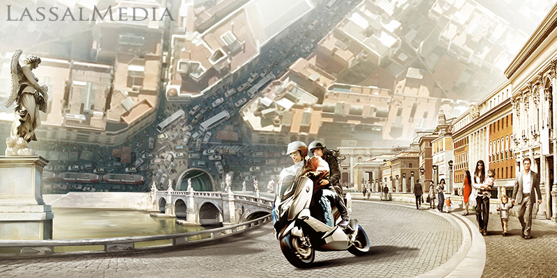 LassalMedia – photorealistic key visuals for a BMW Scooter campaign.