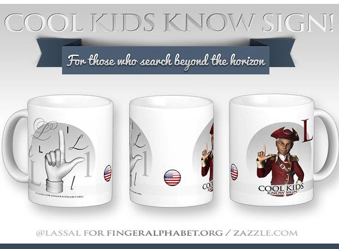 LassalMedia – Merchandising for FingerAlphabet.org (several mugs with ASL sign for the letterL)