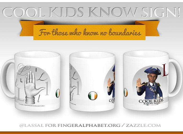 LassalMedia – Merchandising for FingerAlphabet.org (several mugs with Irish sign for the letter L)