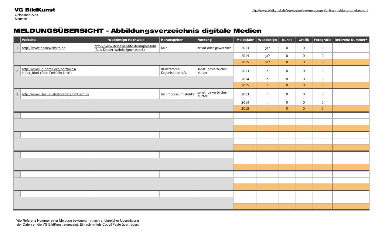 MELDUNGSÜBERSICHT – Abbildungsverzeichnis digitale Medien – VG Bild Kunst